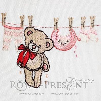 Teddy Bear Machine Embroidery Design - 4 sizes