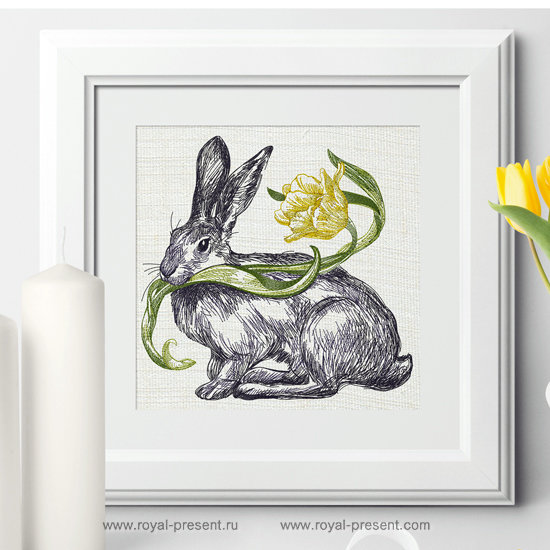 Machine Embroidery Design Spring Bunny - 3 sizes RPE-1253