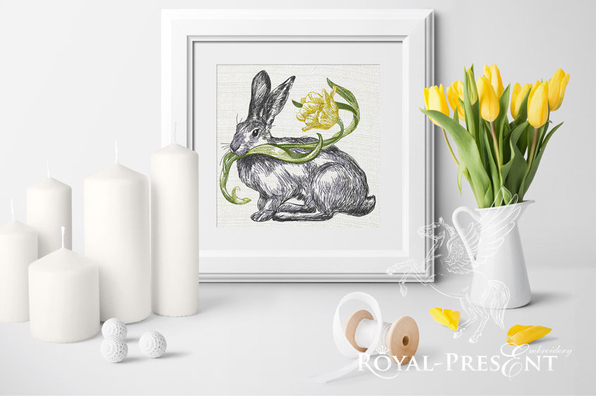 Machine Embroidery Design Spring Bunny - 3 sizes