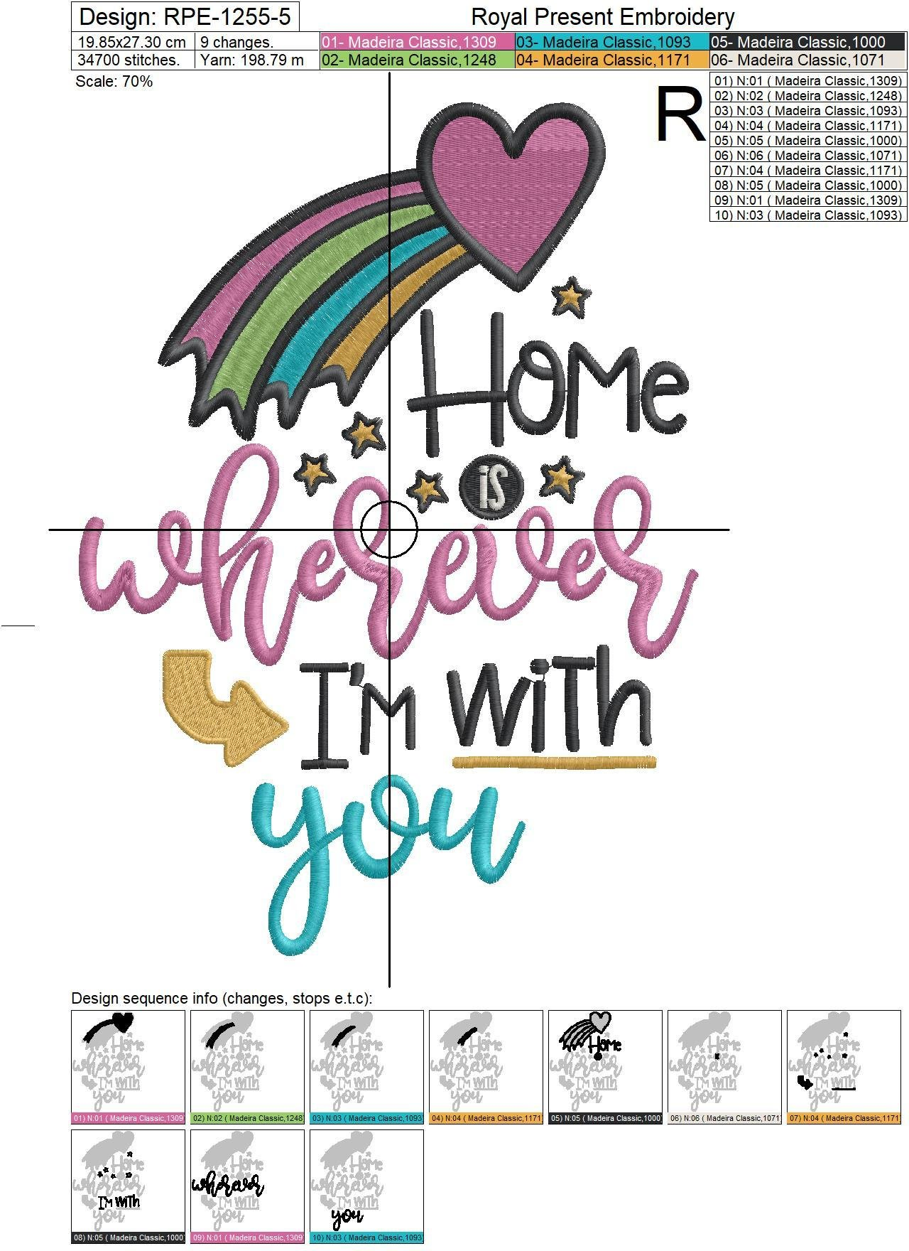 Home is wherever I'm with you Embroidery Design - 5 sizes