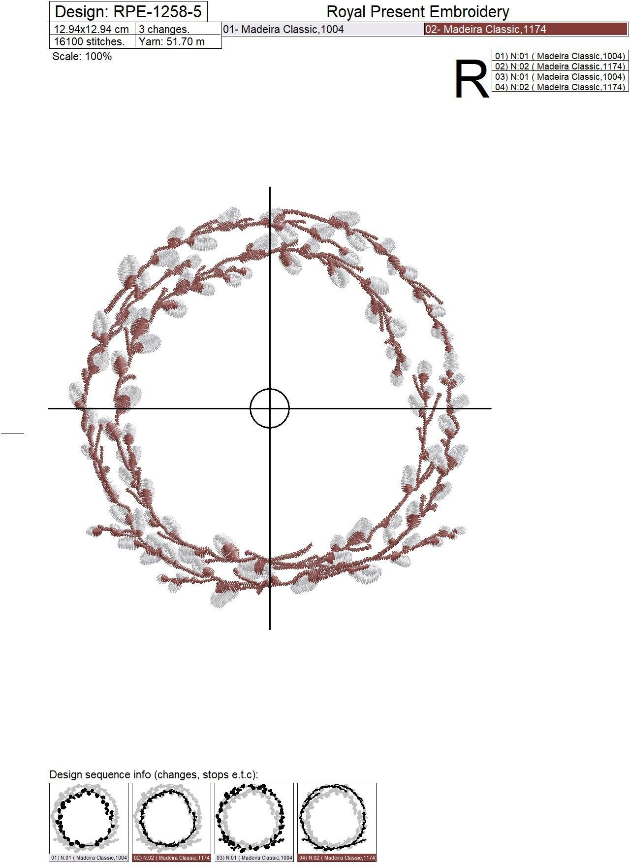 Willow monogram frame Machine Embroidery Design