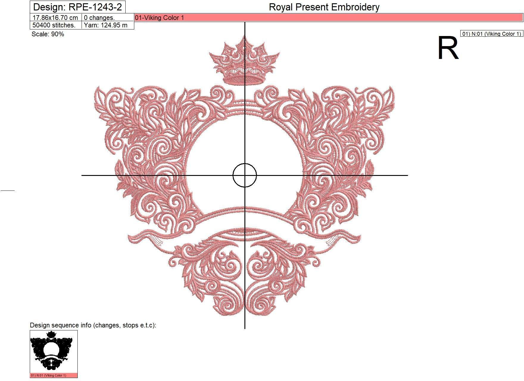 Ornate baroque monogram frame Embroidery Design - 4 sizes
