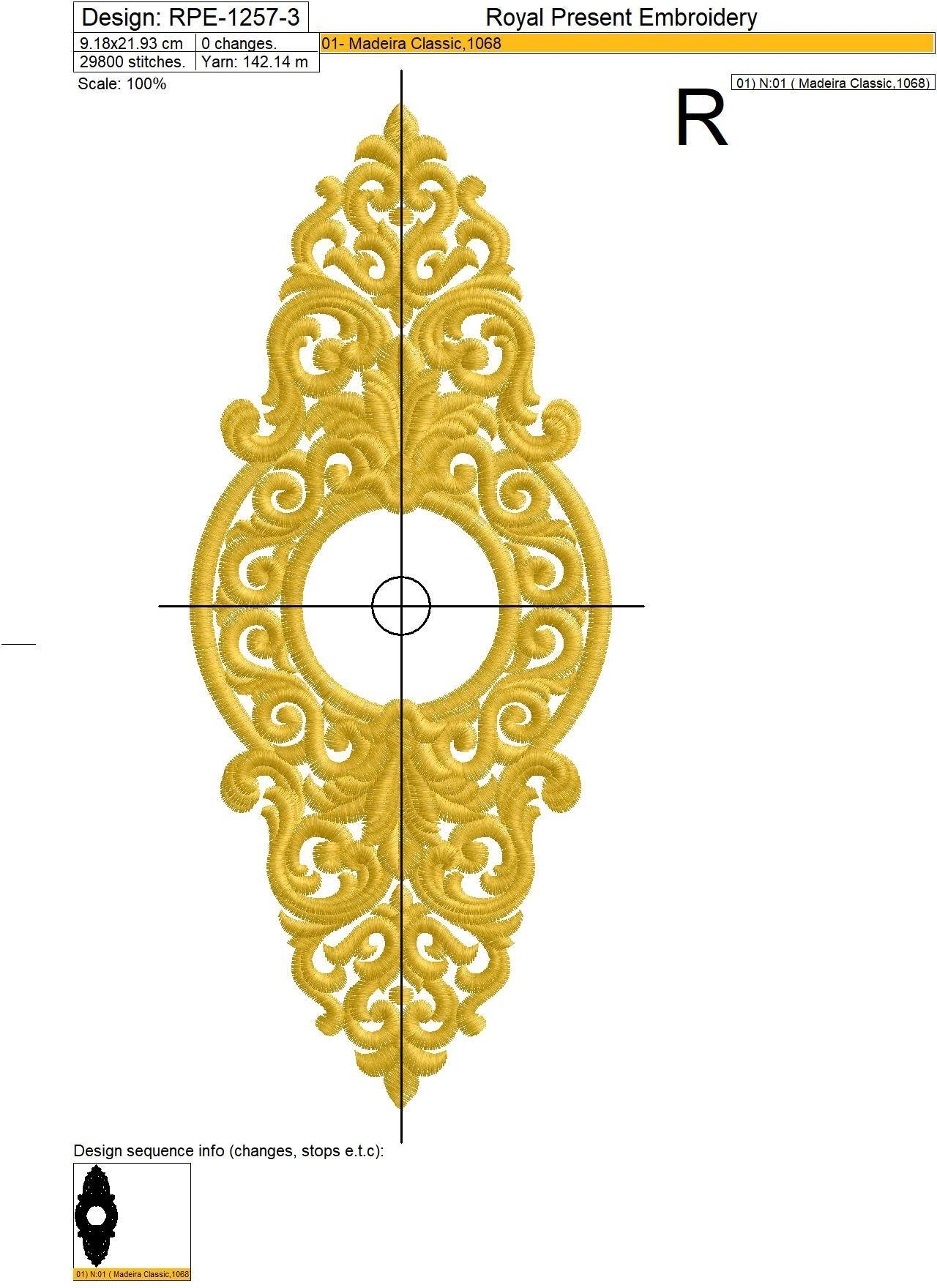 Machine Embroidery Design Baroque Ornate frame
