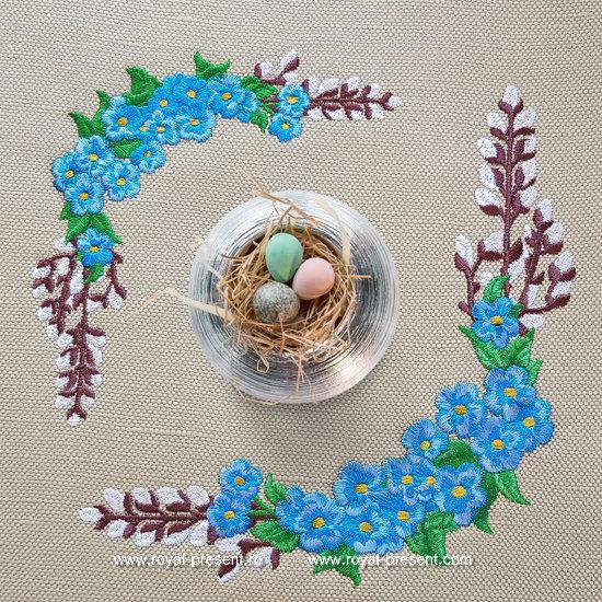 Forget-me-nots Corner Machine Embroidery Design RPE-138