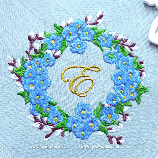 Forget-me-nots and Pussy-Willow Frame Embroidery Design - 3 sizes RPE-1273