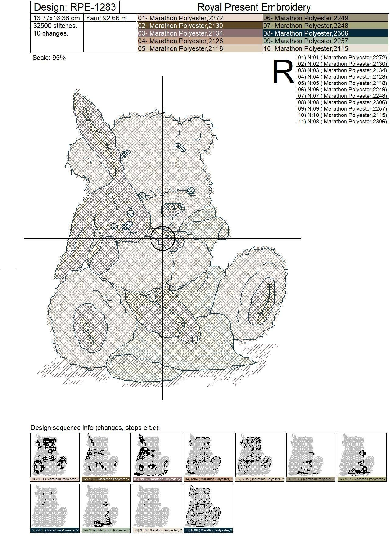 Teddy-Bear Cross-Stitch Machine Embroidery Design - 2 sizes