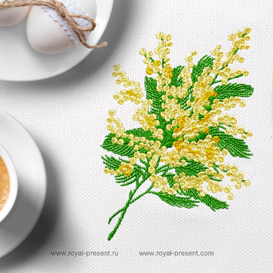 Mimosa Machine Embroidery Design - 2 sizes RPE-1275
