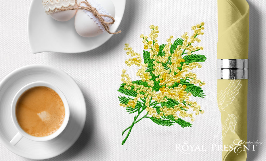 Mimosa Machine Embroidery Design - 2 sizes