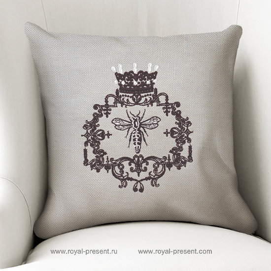 French Queen Bee Machine Embroidery Design - 5 sizes RPE-1284