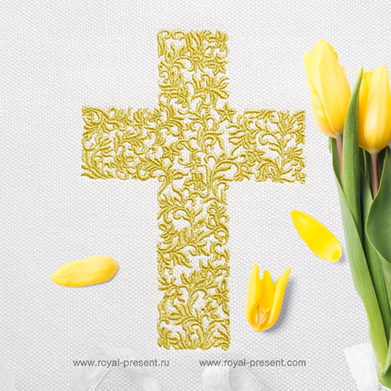 Easter Cross machine embroidery design - 3 sizes RPE-1278