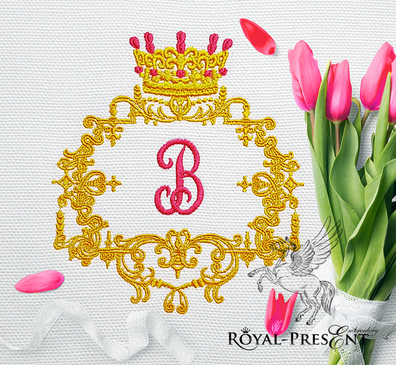 Royal monogram frame Embroidery Design - 3 sizes