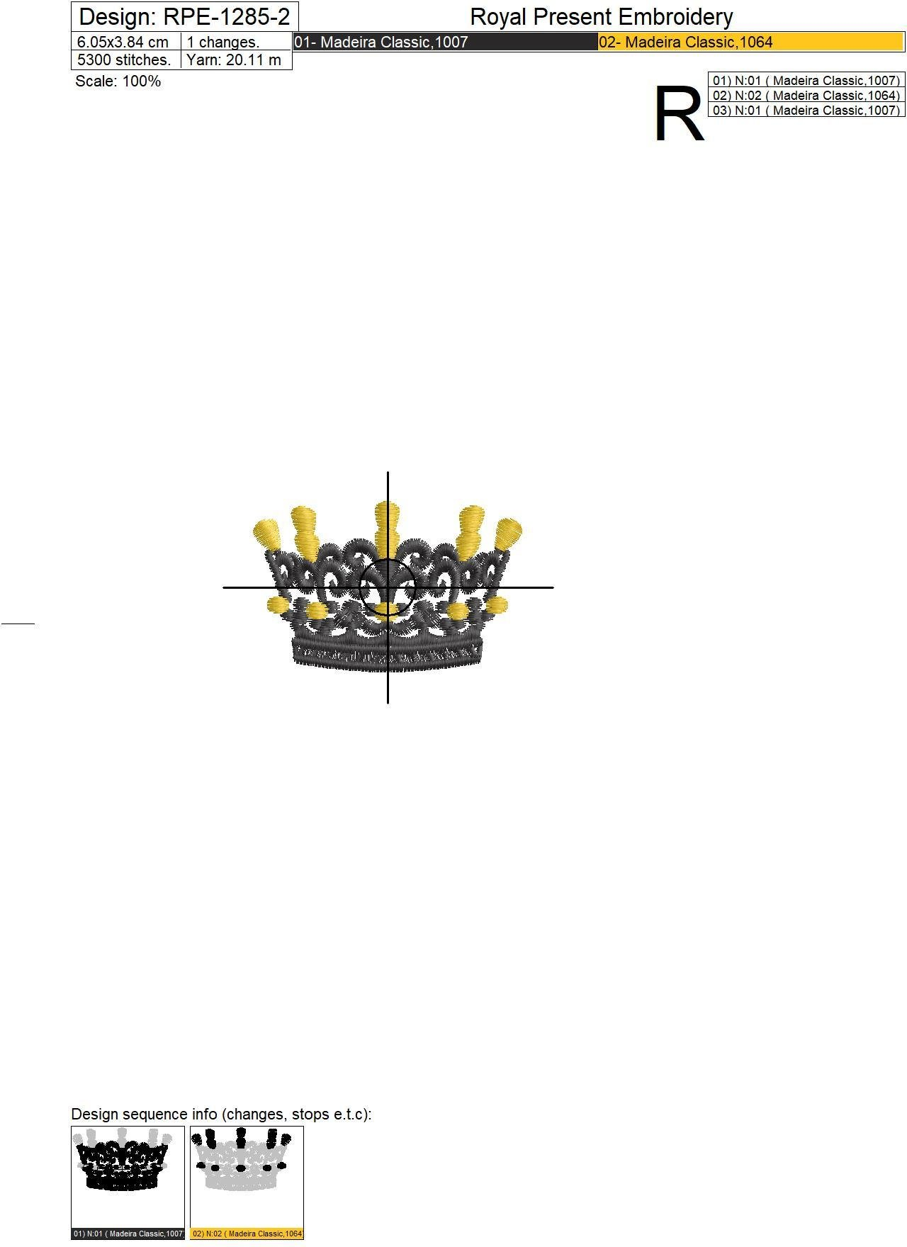 Crown Embroidery Design - 3 sizes