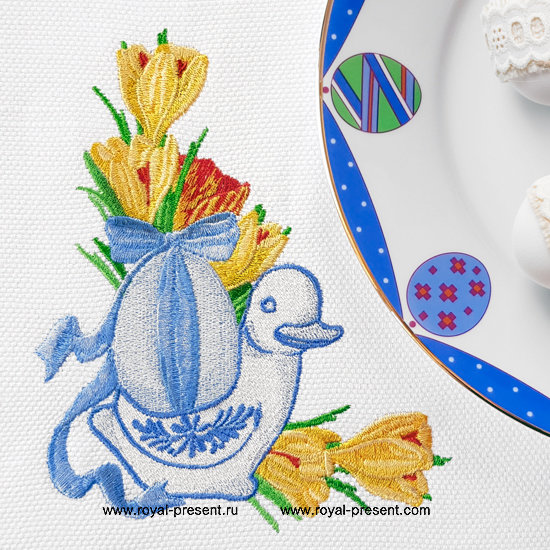 Blue Easter Duck Machine Embroidery Design RPE-1290