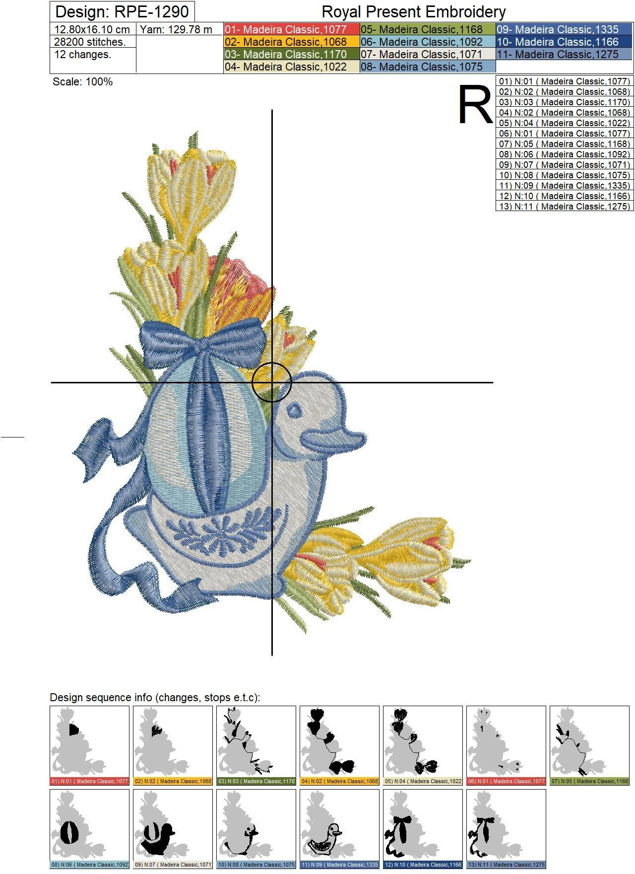 Blue Easter Duck Machine Embroidery Design