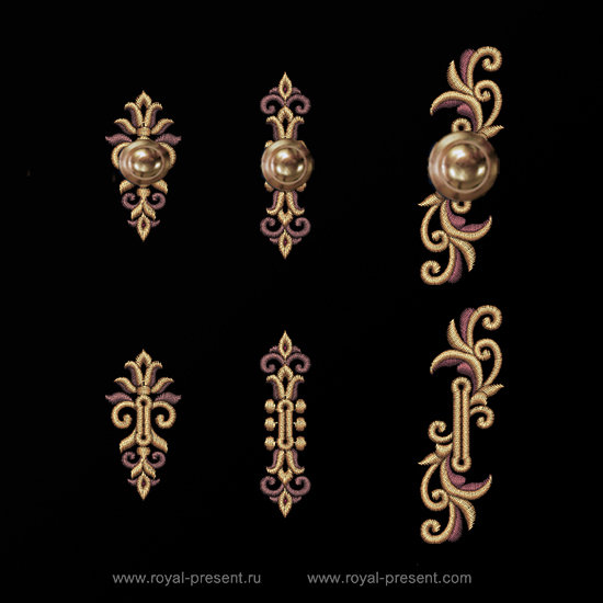Three Baroque buttonholes Machine Embroidery Designs RPE-1301