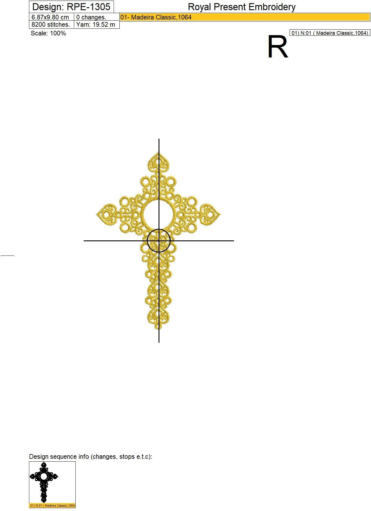 Machine embroidery design Jewelry Cross with Crystal