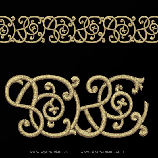 Ornate Border Free Machine Embroidery Design - 2 sizes