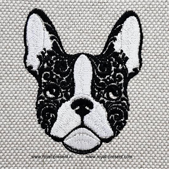 Portrait French Bulldog Machine Embroidery Design - 5 sizes RPE-1308