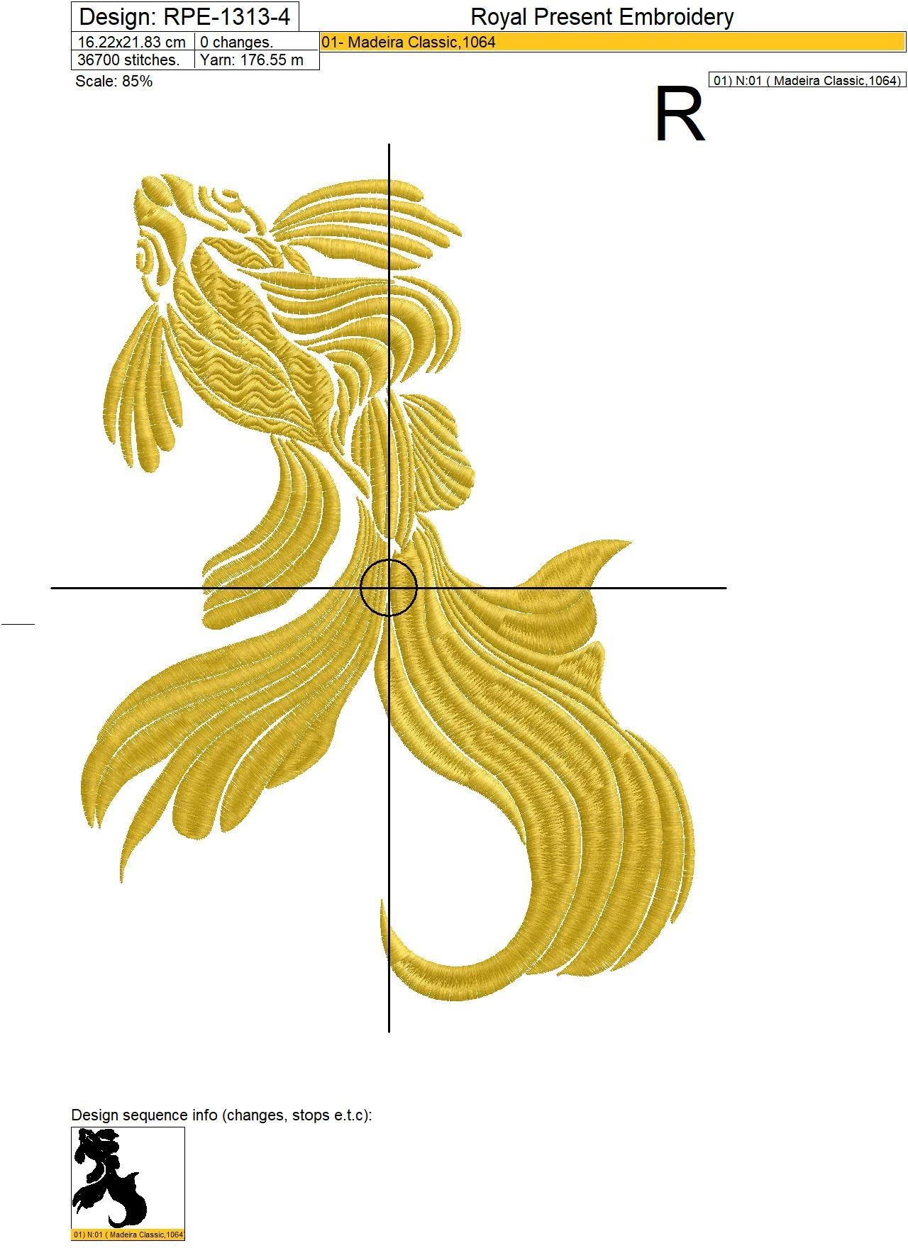 Gold Fish Machine Embroidery Design - 4 sizes