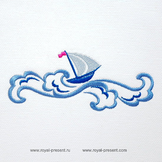 Machine Embroidery Design Boat on the waves - 3 sizes
