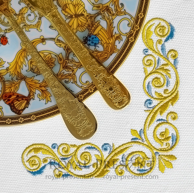 Gold with a blue Corner Machine Embroidery Design - 3 sizes RPE-1374