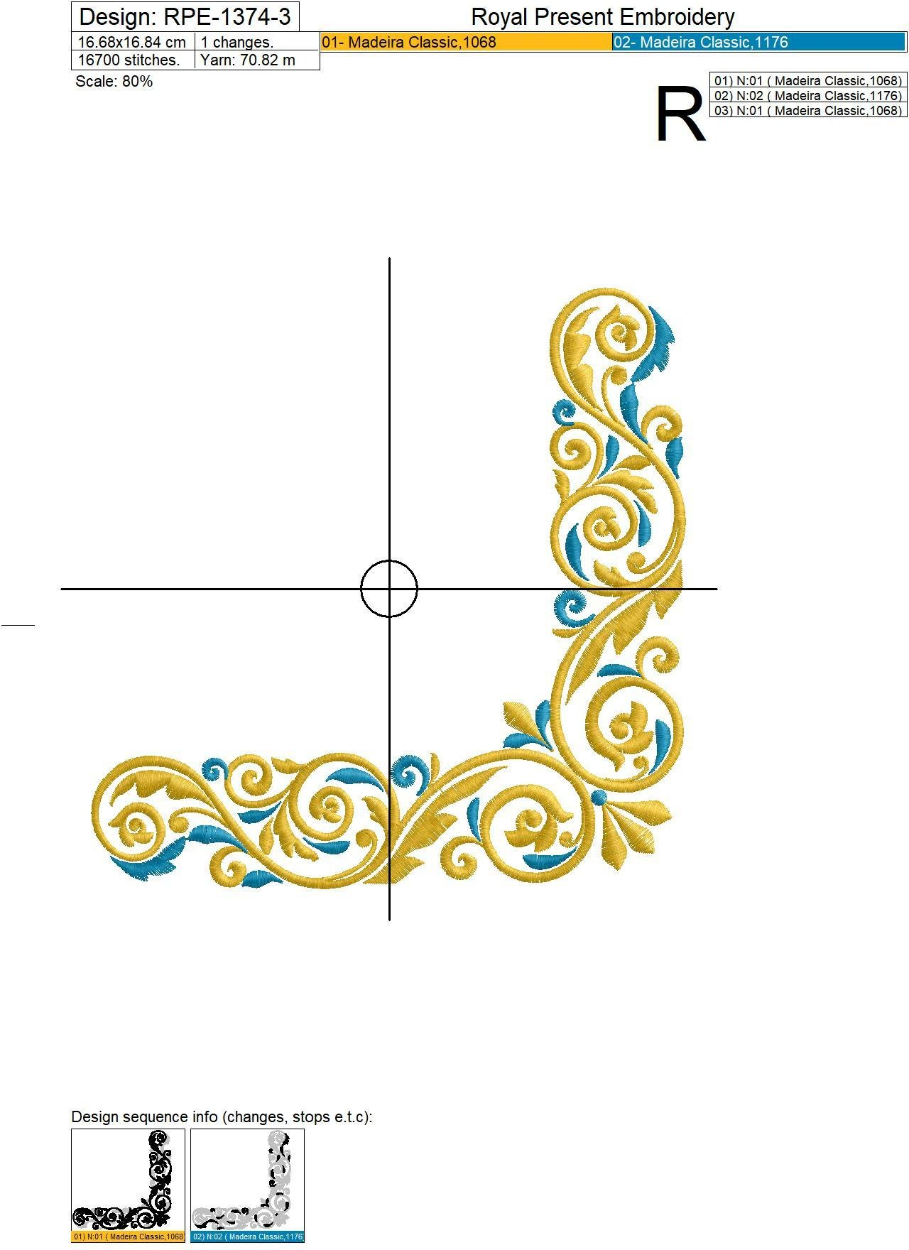 Gold with a blue Corner Machine Embroidery Design - 3 sizes