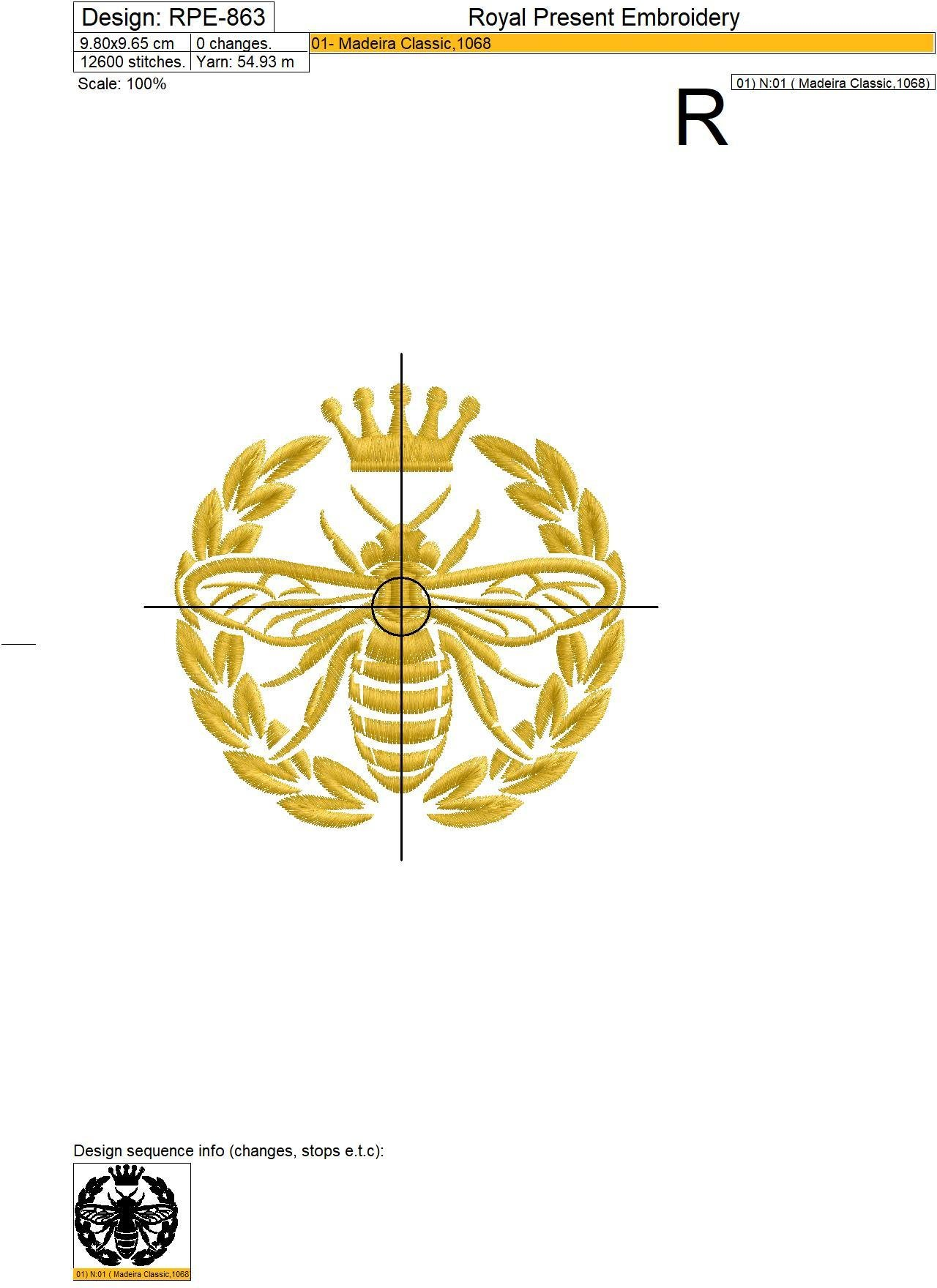 Queen Bee with Laurel Machine embroidery design