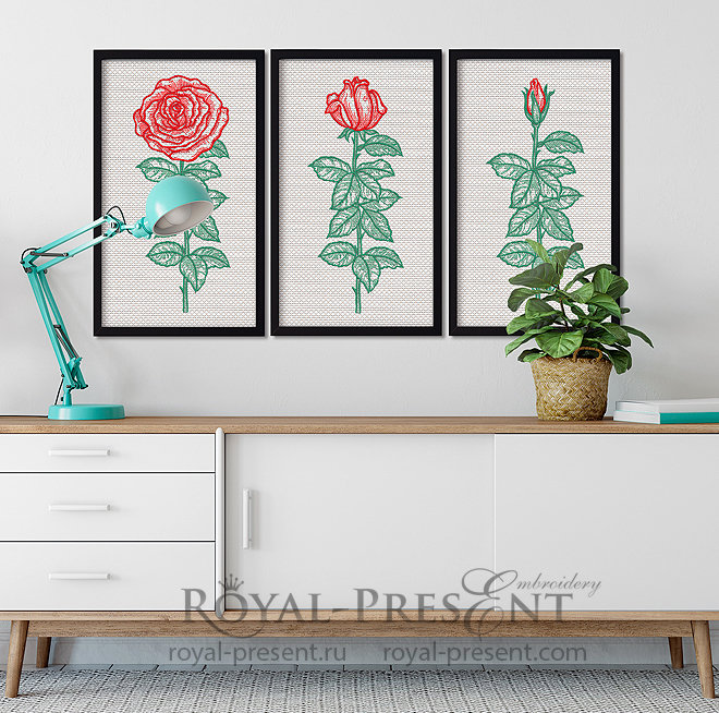 Triptych Roses Machine Embroidery Designs RPE-1375
