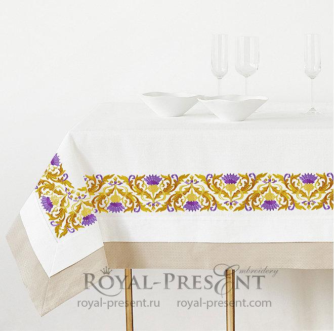 Golden Thistle corner Machine Embroidery Design RPE-1394