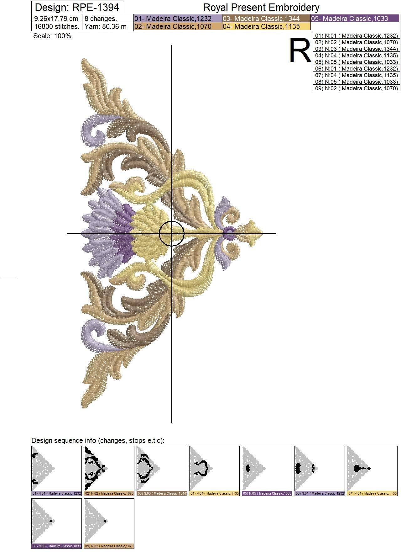 Golden Thistle corner Machine Embroidery Design