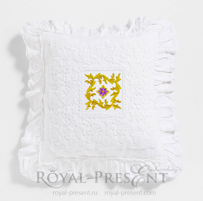 Ornamental Gold Leaf Machine Embroidery Design - 2 sizes RPE-1405
