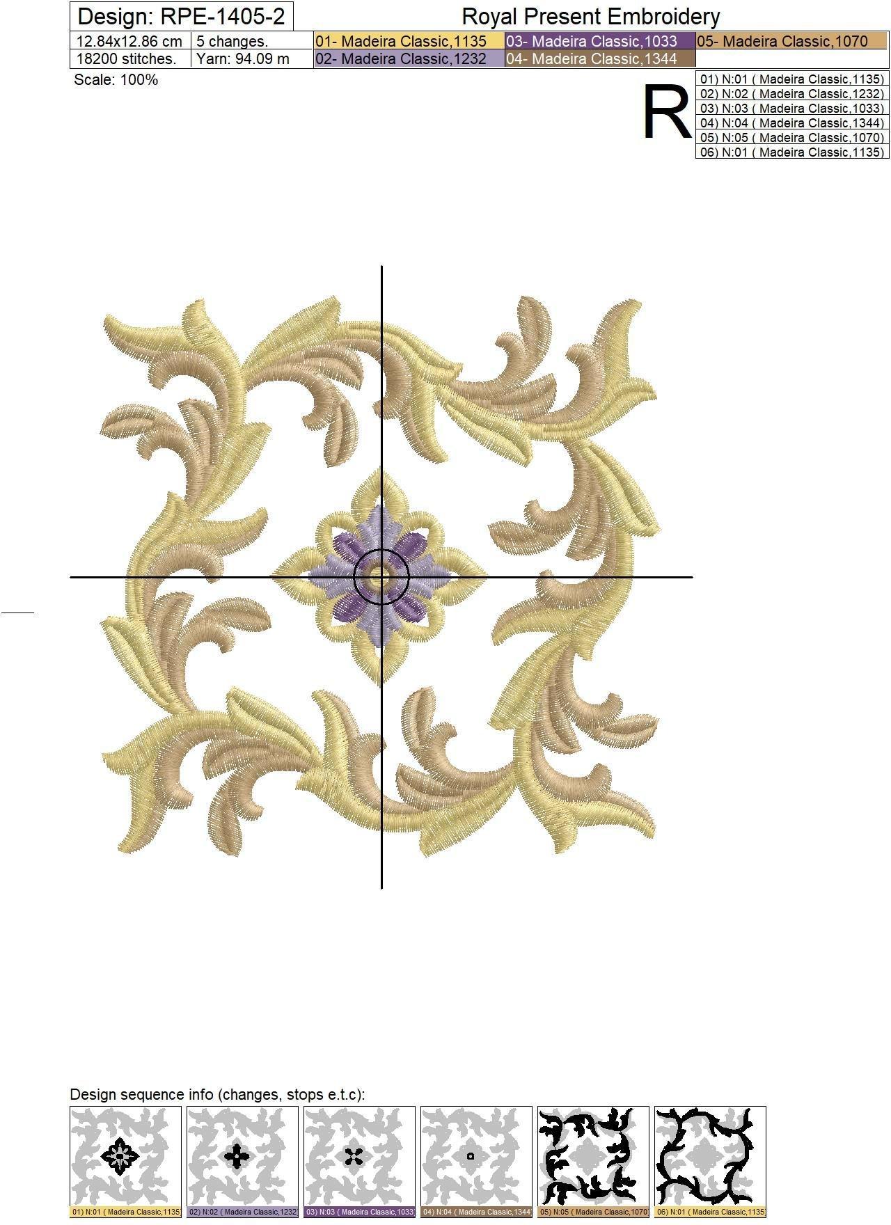 Ornamental Gold Leaf Machine Embroidery Design - 2 sizes
