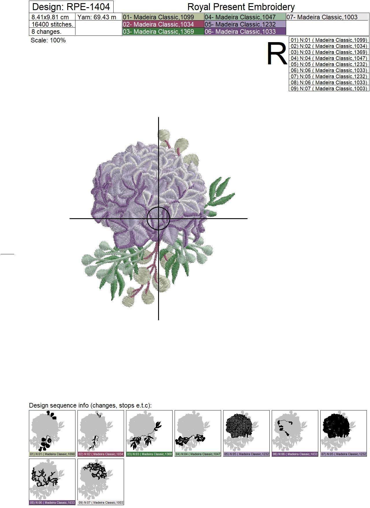 Hydrangea bouquet Machine Embroidery Design - 3 sizes