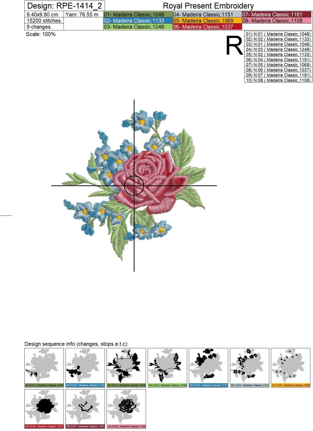 Roses and forget-me-nots Machine Embroidery Designs