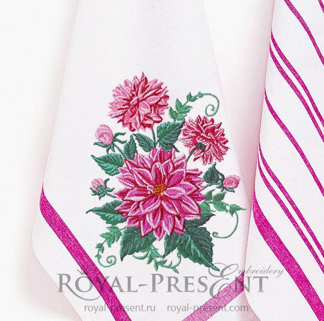 Dahlias Machine Embroidery Design - 4 sizes RPE-1418