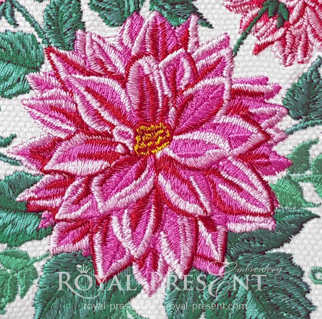 Dahlias Machine Embroidery Design - 4 sizes