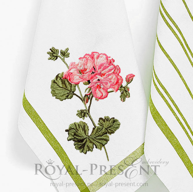 Geranium machine embroidery design RPE-1417