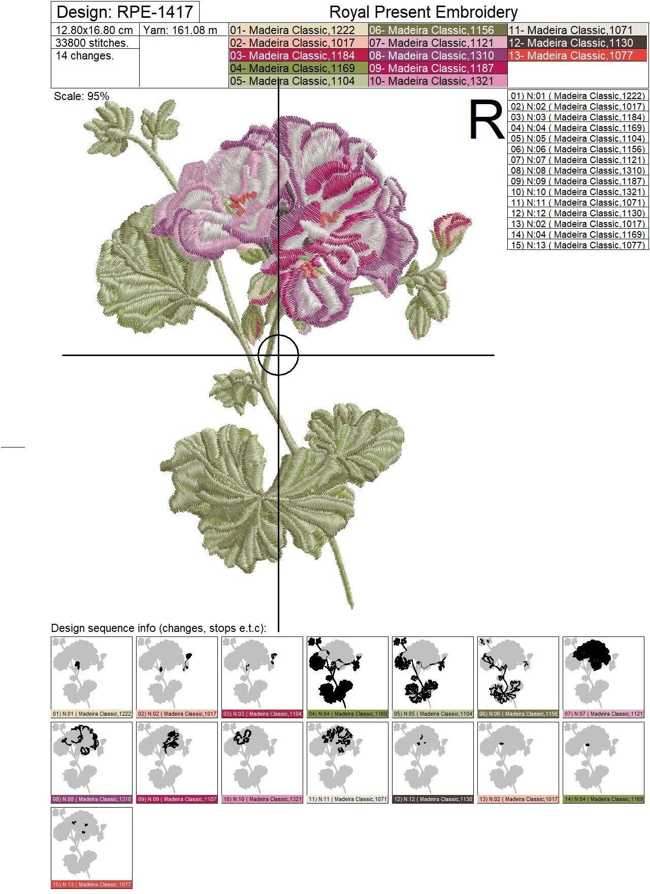 Geranium machine embroidery design