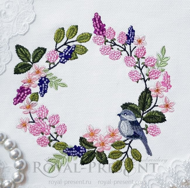 Sparrow Wreath Machine Embroidery Design RPE-1422