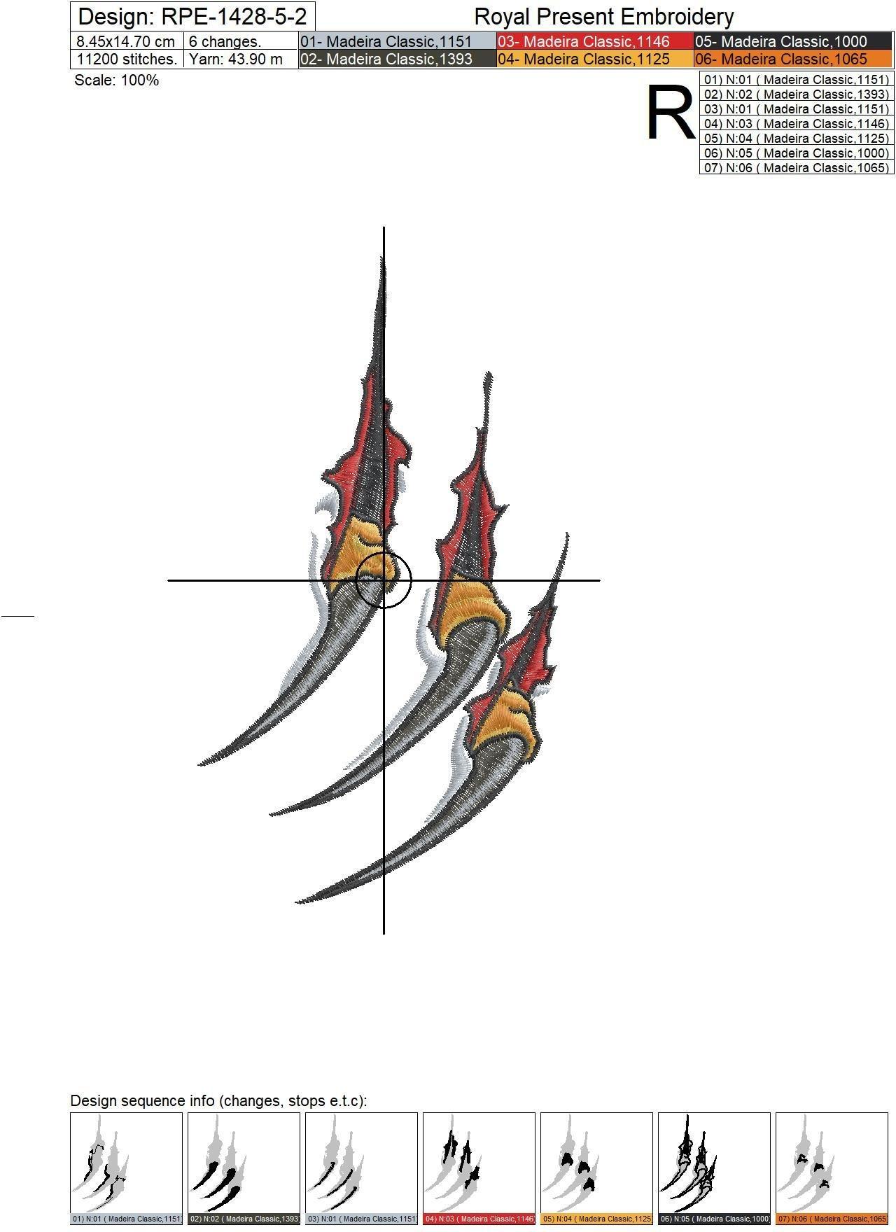 Predator claws Machine Embroidery Design - 6 sizes