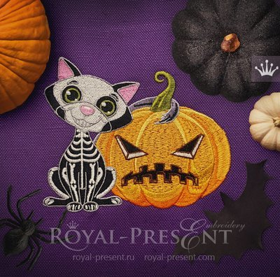 Machine Embroidery Design Halloween Black Cat