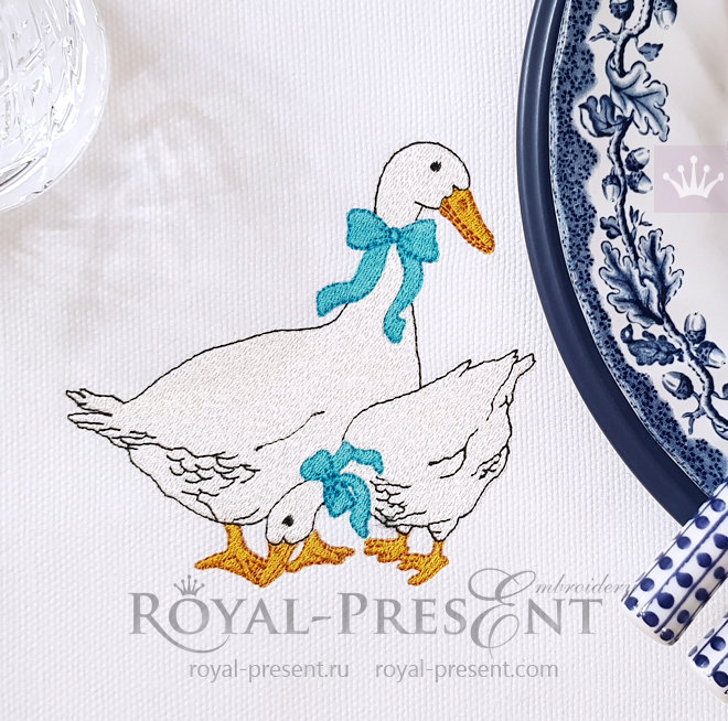 Czech geese Machine Embroidery Design - 2 sizes RPE-818