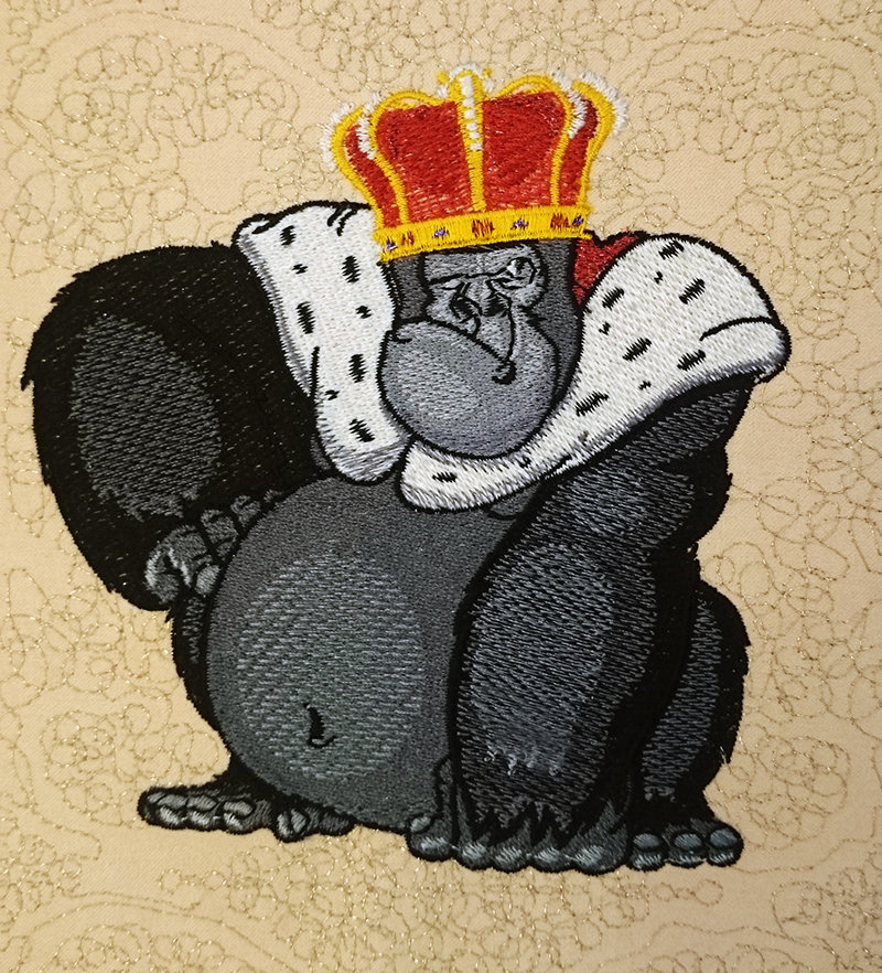 Machine Embroidery Design Formidable monkey in a crown - 3 sizes RPE-263