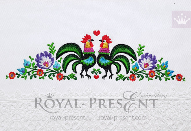 Polish Roosters border Machine Embroidery Design - 2 sizes RPE-1438