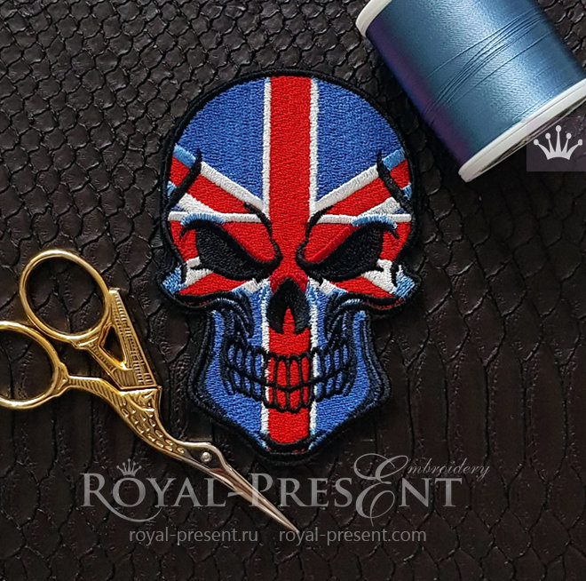 Great Britain Flag Skull Machine Embroidery Design RPE-1446