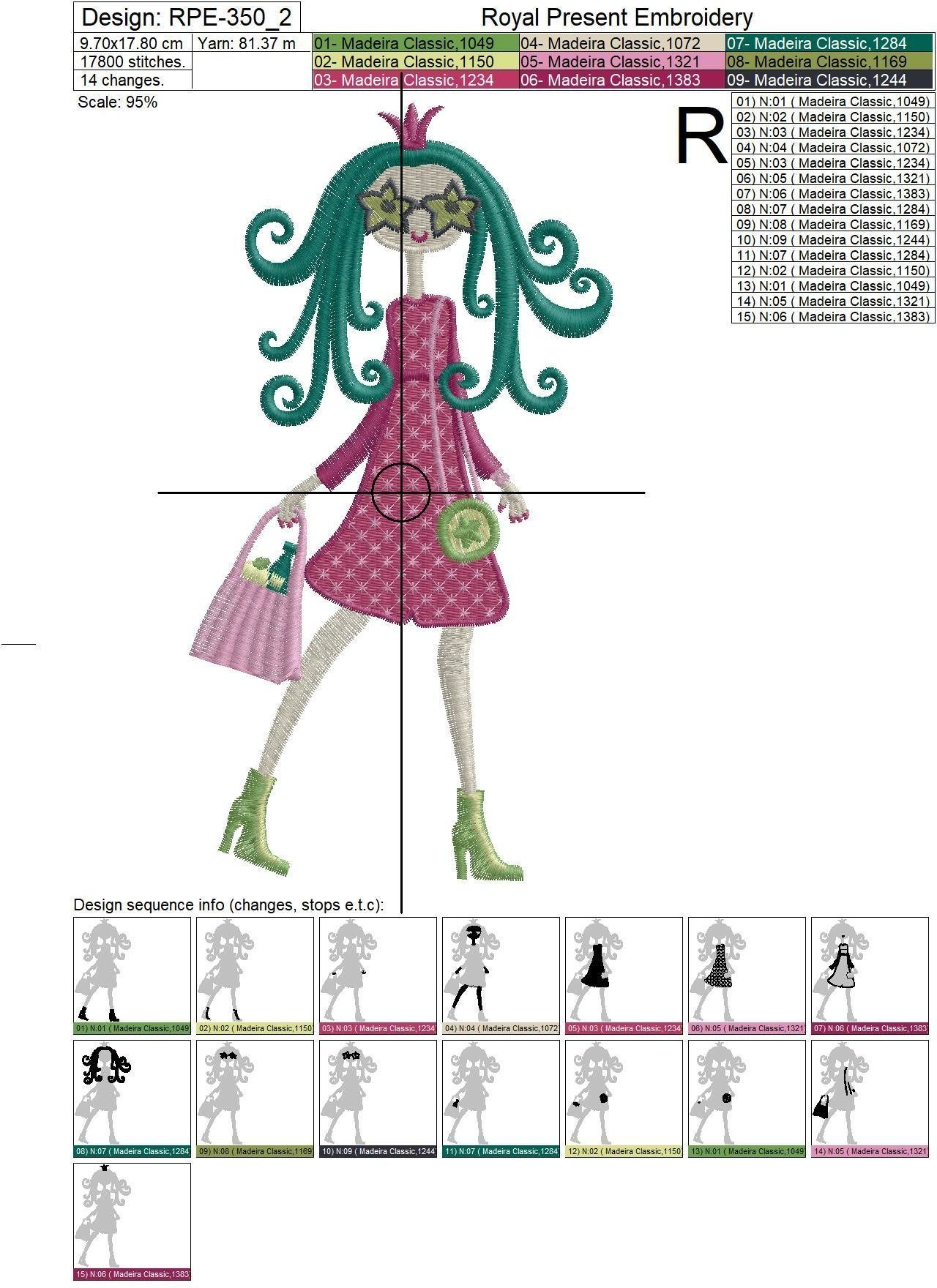 Fashion Girls Machine Embroidery Designs