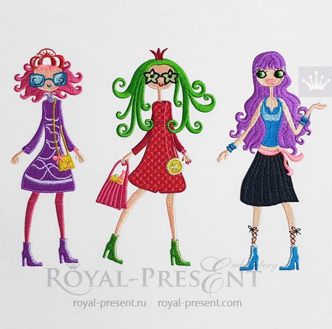 Fashion Girls Machine Embroidery Designs