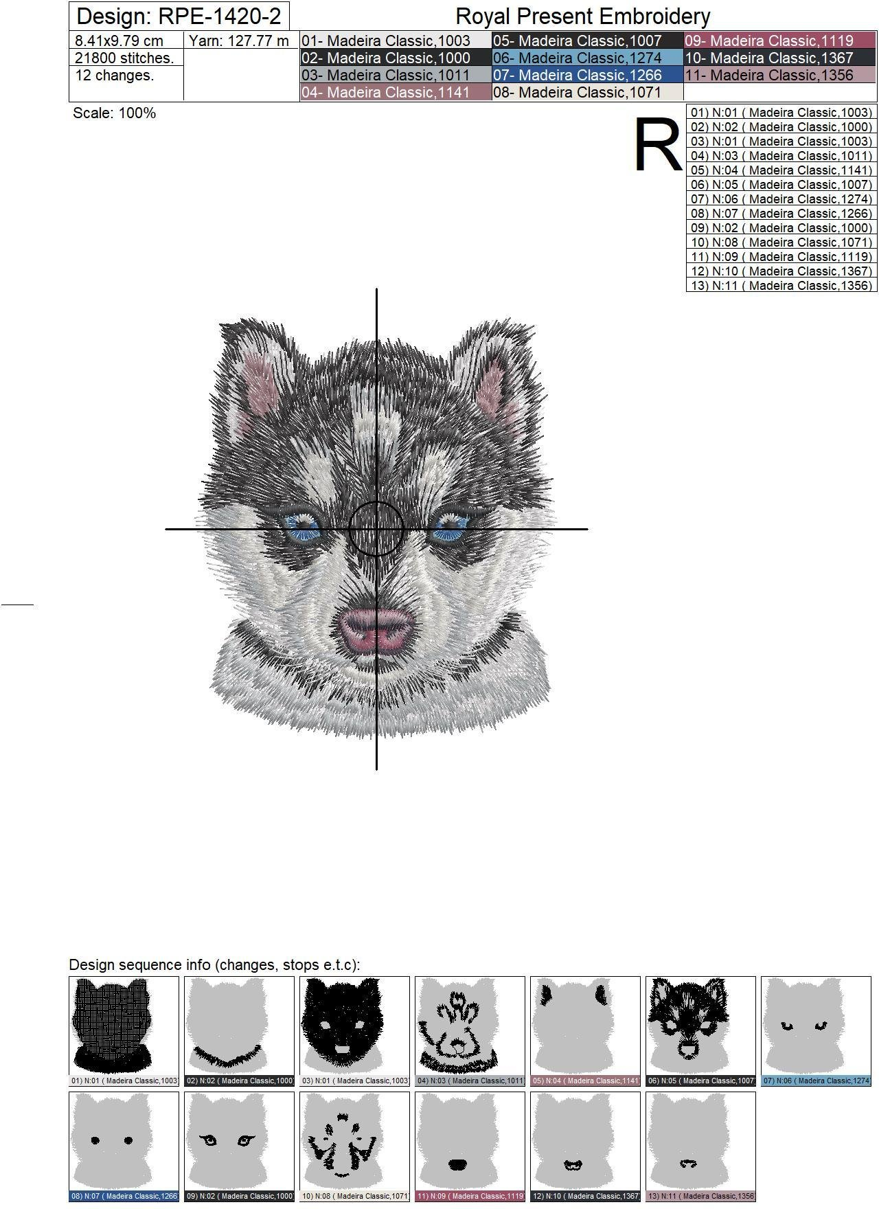 Pocket Husky Machine Embroidery Design - 2 sizes