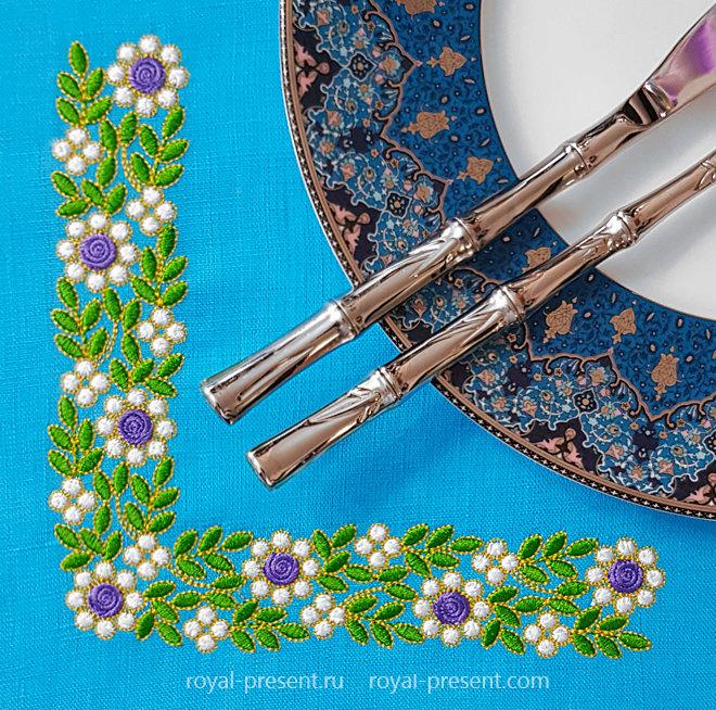 Floral Emerald Corner Machine Embroidery Design RPE-1452