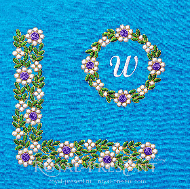 Floral Emerald Machine Embroidery Designs Set RPE-1453